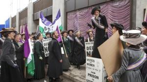 Suffragettes threaten the store in episode 6 of Mr Selfridge